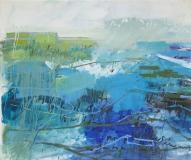 Reise ins Blau, Oel auf Nessel, 155 x 180 cm, 2017